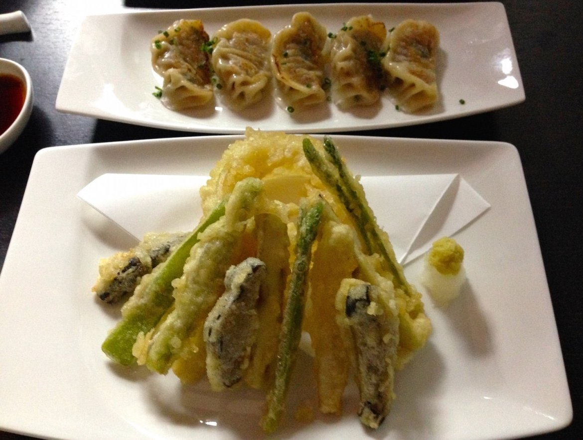 Veggie tempura and chicken gyoza