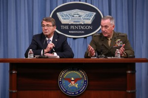 ARLINGTON, VA - MARCH 25: U.S. Secretary of Defense Ash Carter (L) and Chairman of the Joint Chiefs of Staff Gen. Joseph Dunford (R) brief members of the press at the Pentagon March 25, 2016 in Arlington, Virginia. Carter and Dunford confirmed reports that the U.S. successfully targeted ISIS leader Haji Imam in a recent attack and described him as the group's finance minister. (Photo by Win McNamee/Getty Images)