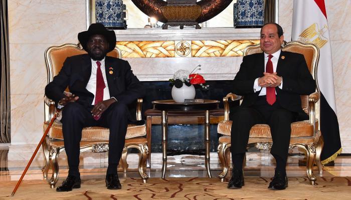 الرئيس المصري عبد الفتاح السيسي في مباحثات مع نظيره بدولة جنوب السودان، سلفاكير ميارديت عام الماضية (ارشيفية)