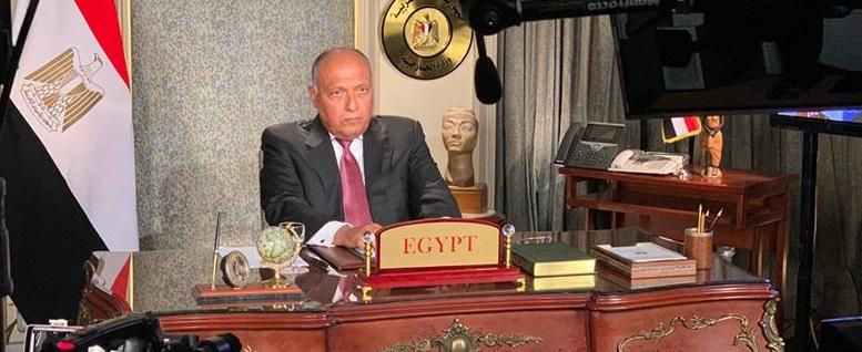 وزير الخارجية المصري سامح شكري يخاطب مجلس الأمن الدولي بشأن سد النهضة الإثيوبي مساء الاثنين (مصدر الصورة: وزارة الخارجية المصرية)