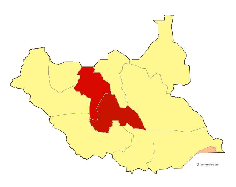 خريطة جنوب السودان توضح ولاية واراب والبحيرات باللون الأحمر [الصورة أرشيفية ]