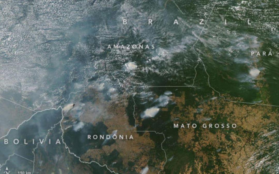 """الدخان رُصد من الفضاء.. """"حرائق هائلة"""" في الأمازون!"""