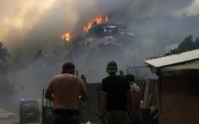 حريق يدمر 245 منزلا في تشيلي