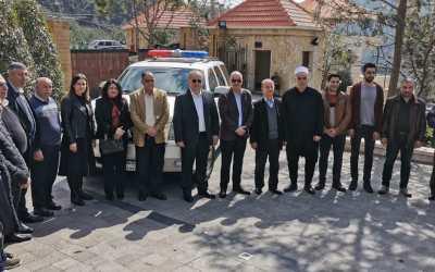 وهاب إستقبل رئيس وأعضاء الرابطة الأدبية الإجتماعية الخيرية في الجاهلية وقدم لها سيارة إسعاف 