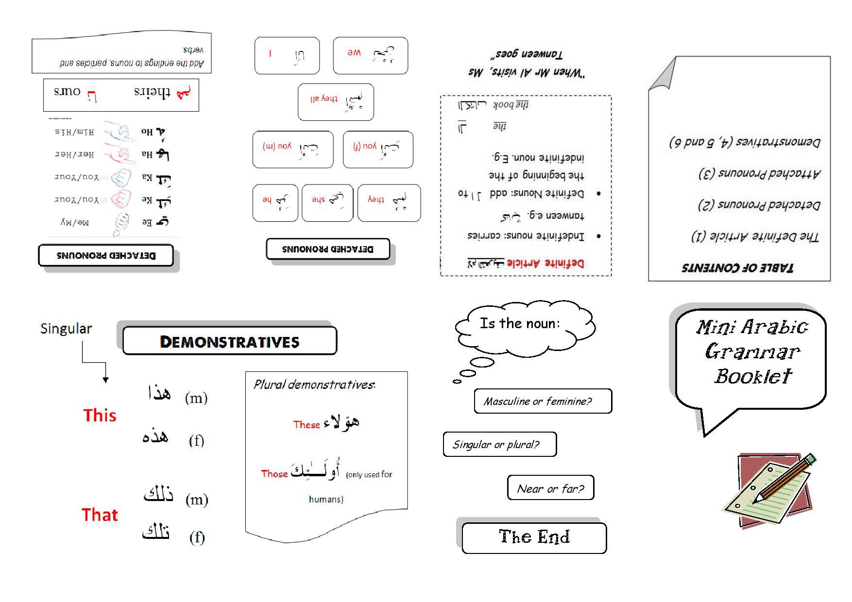 Mini Foldable Books For Arabic Grammar