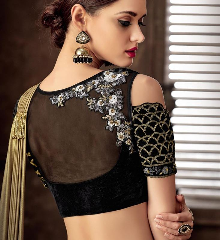 Net Embroidered Designer New Blouse Designs 2019 For Engagement Saree