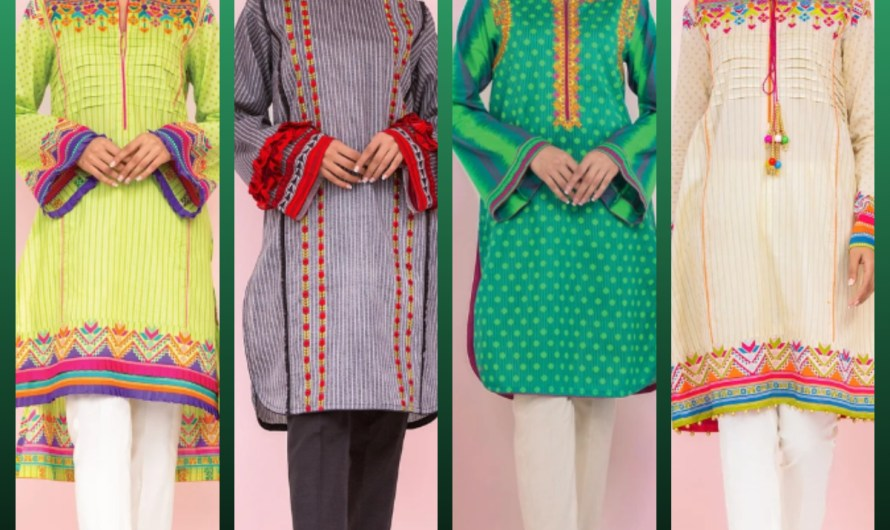 Extra Lawn Sleeves Pakistani Casual Embroidered Lawn kurti Shirts 2020