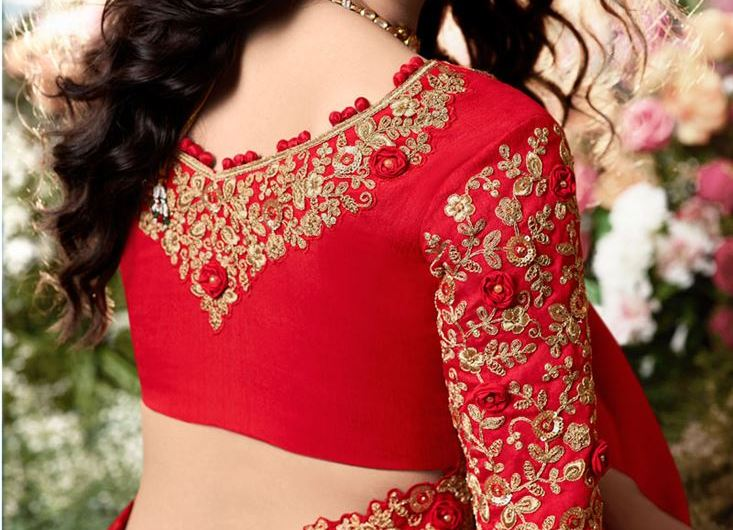 Net Saree Back Blouse Designs 2020 Images With Embroidery Work