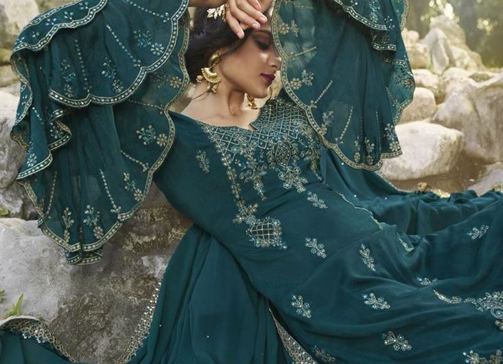 Stylish Sleeves Chinon Party Wear Palazzo Suit Designs 2020 Images