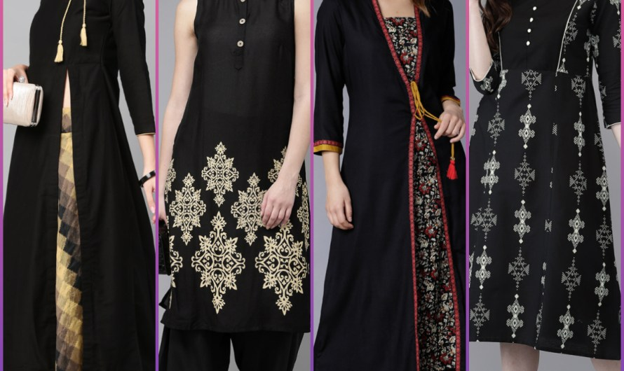 Designer Indian Wedding Wear Black Kurti Designs 2020 New Long Length Trends
