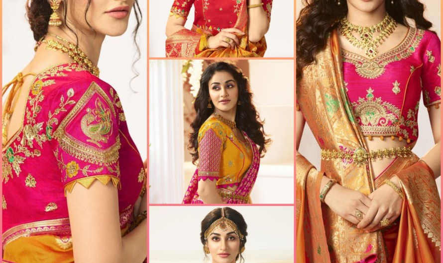 Sangeet Wear Bridal Saree Blouse Designs 2020 New Embroidered Styles For Front & Back