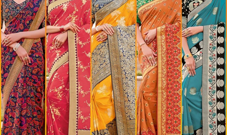 Designer Engagement Dresses Latest Indian Silk Saree Designs 2020 With Embroidered Blouses