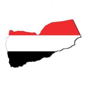 Umrisskarte von Jemen mit der Landesflagge