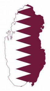 Umrisskarte von Katar mit der Landesflagge