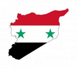 Umriss mit Fahnde von Syrien