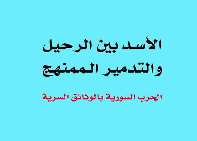 """""""الأسد بين الرحيل والتدمير الممنهج.. الحرب السورية بالوثائق السرية"""""""