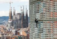 """""""الرجل العنكبوت"""" الفرنسي ألان روبير أثناء تسلقه ناطحة سحاب في برشلونة يوم الجمعة. تصوير: البرت خيا - رويترز."""