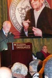 Speaking at the Naguib Mahfouz Award ceremony in 2010.