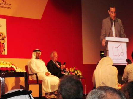 Jonathan Taylor with Sheikh Sultan bin Zayed Al Nahyan, who presented the prize.