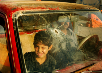 """Image from Words Without Borders April issue. Jamal Penjweny, """"Iraq- Falwja"""" (detail) 2009."""