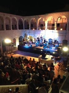 Zayed on stage with Turab in Nablus.
