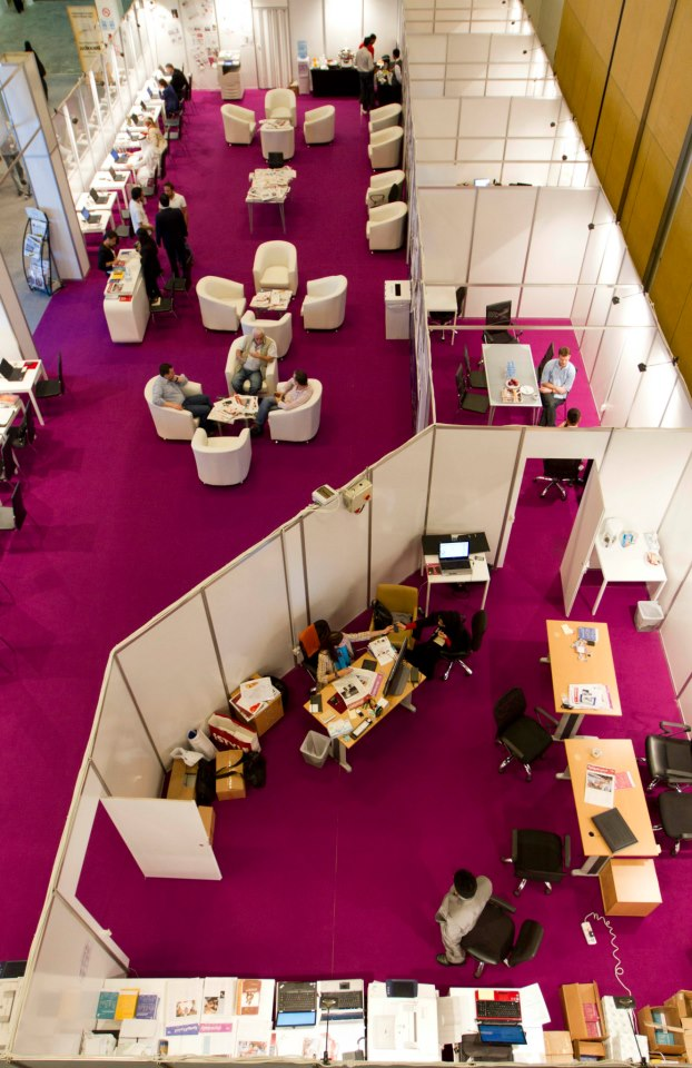 A view of the ADIBF press center from above. Photo credit: Abu Dhabi International Book Fair.