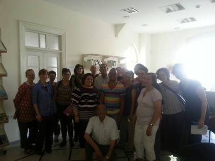 """From Facebook: """"Photo of all of us taken by Dua'a Qirresh, Librarian at the Dar Issaf Nashashibi Library in Jerusalem - a library trying to retrieve and protect manuscripts not looted by the Israelis."""""""