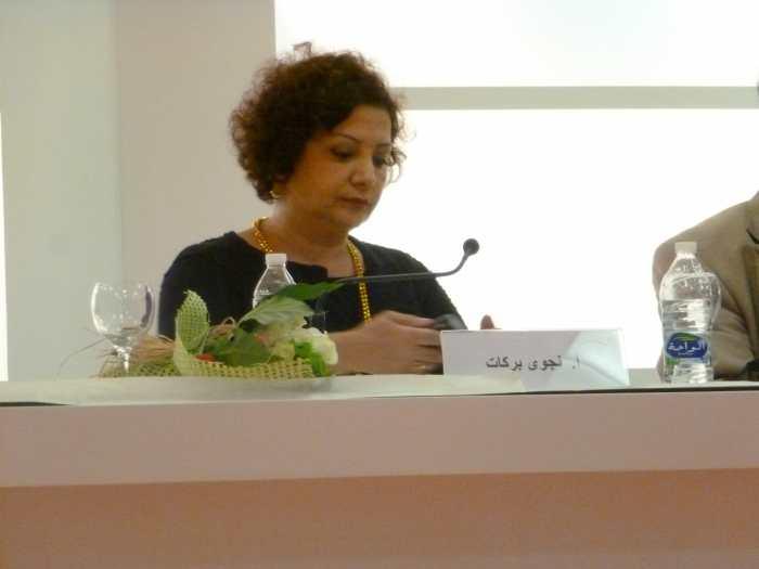 Lebanese novelist Najwa Barakat speaking at the Sharjah International Book Fair.