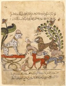 Figure: Kalila wa-Dimna. Syrian manuscript. Bibliothèque nationale de France in Paris, MS arabe 3465, folio 57.