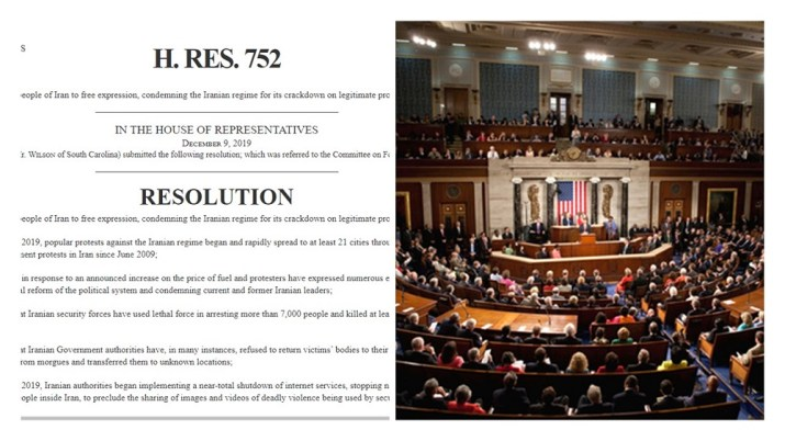 H. Res. 752 of the U.S. Congress in Support Iran Protests
