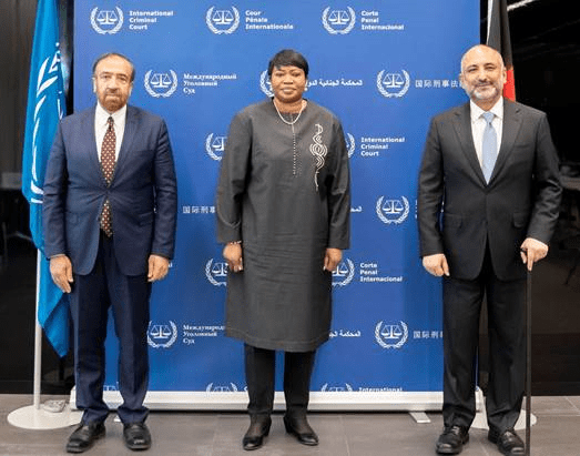 Left to right: H.E. Mr Fazal Ahmad Manawi Minister of Justice of the Islamic Republic of Afghanistan, Mrs Fatou Bensouda, Prosecutor of the ICC, and H.E. Mr Mohammad Haneef Atmar, Minister of Foreign Affairs at the Seat of the Court in The Hague, The Netherlands.