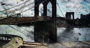 مشهد على شكل بطاقة بريدية لجسر بروكلين
