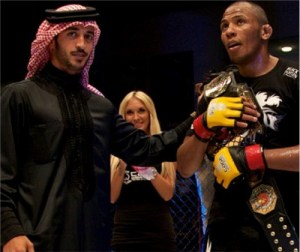 HH Shaikh Khalid bin Hamad Al Khalifa presents the CWFC welterweight belt to Gael Grimaud following the main event at CWFC Fight Night 6, the promotion's most recent show in Bahrain (dolly crew)
