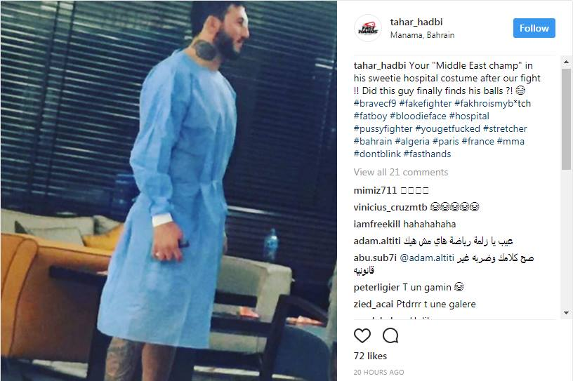 A screenshot of Tahar Hadbi's Instagram post, which was deleted 1 day after it was posted