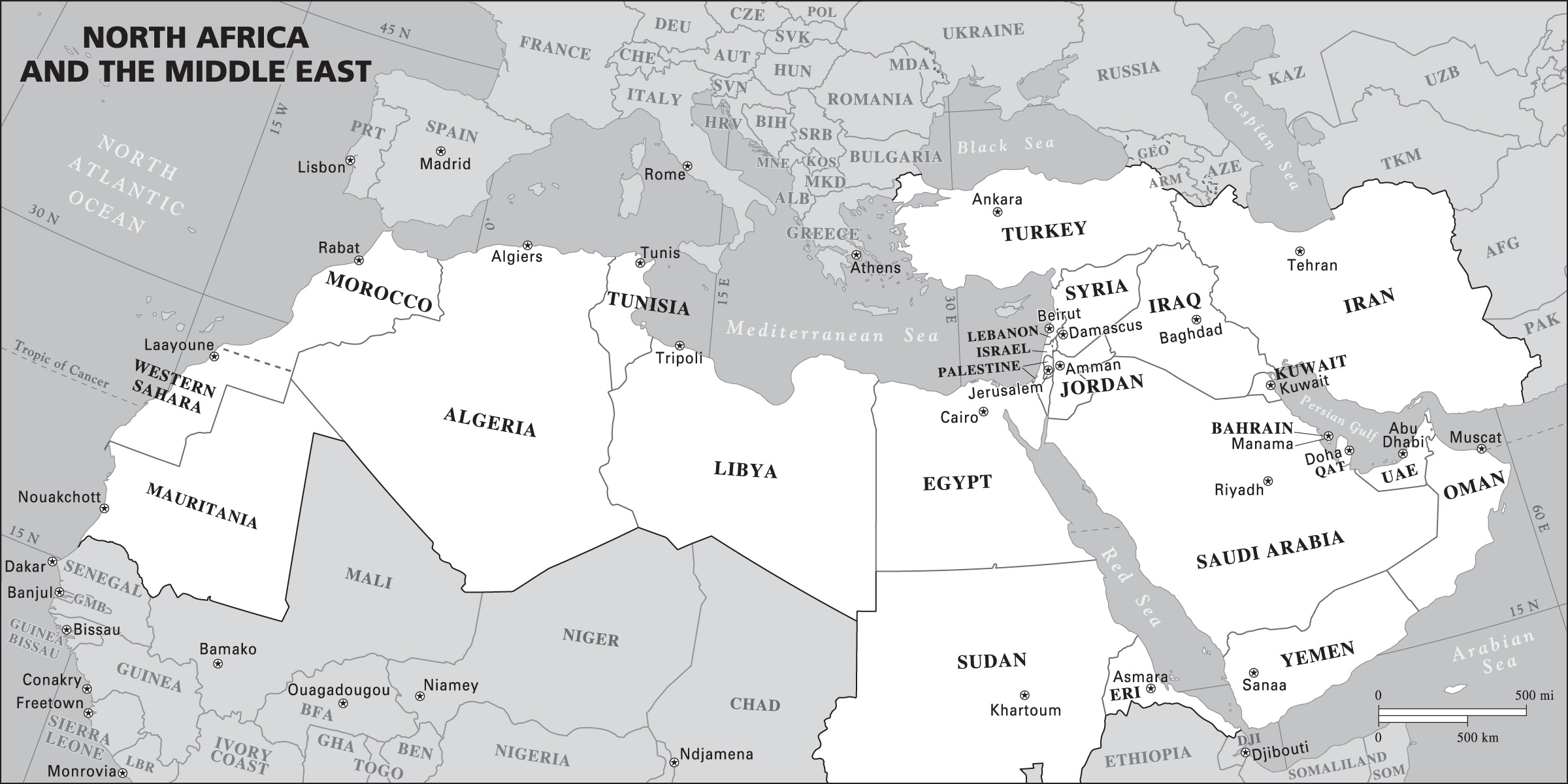 Outline Map North Africa And Middle East
