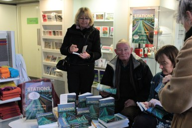 Wendy Gill (Saleswoman of the day), Bartle Sawbridge, Caroline Hardman at London Transport Museum, with Paula pretending to be crowd.