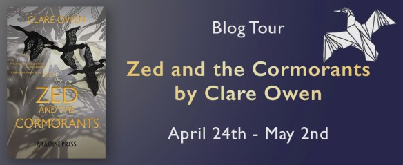 Promotional image showing Zed and the Cormorants book cover and blog tour dates (24 April - 2 May)