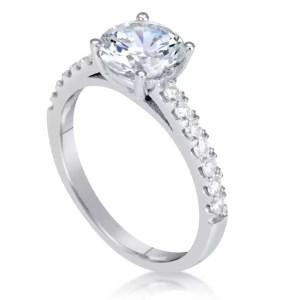 1.54 Carat Round Cut Diamond Engagement Ring 18K White Gold