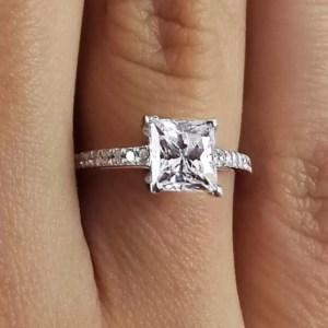 1.55 Carat Princess Cut Diamond Engagement Ring 14K White Gold