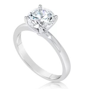 2 Carat Round Cut Diamond Engagement Ring 14K White Gold