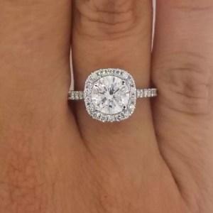2.25 Carat Round Cut Diamond Engagement Ring 18K White Gold
