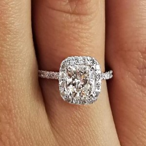 2.28 Ct Cushion Cut D/Si1 Halo Diamond Solitaire Engagement Ring 14K White Gold
