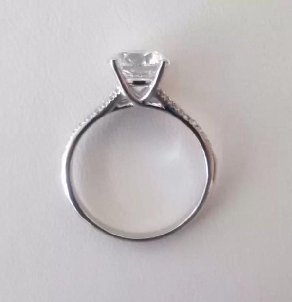 2.5 Carat Round Cut Diamond Engagement Ring 14K White Gold 4