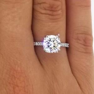 2.52 Carat Round Cut Diamond Engagement Ring 14K White Gold