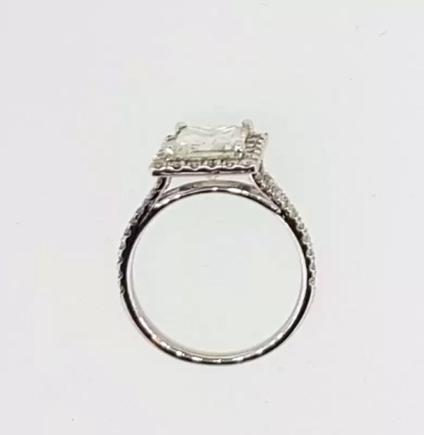 3.00 Ct Princess Cut Diamond Solitaire Engagement Ring 18K White Gold 2
