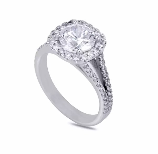 3.60 Ct Round Cut DVs2 Diamond Solitaire Engagement Ring 14K White Gold 3