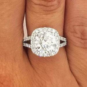 4.5 Carat Round Cut Diamond Engagement Ring 14K White Gold