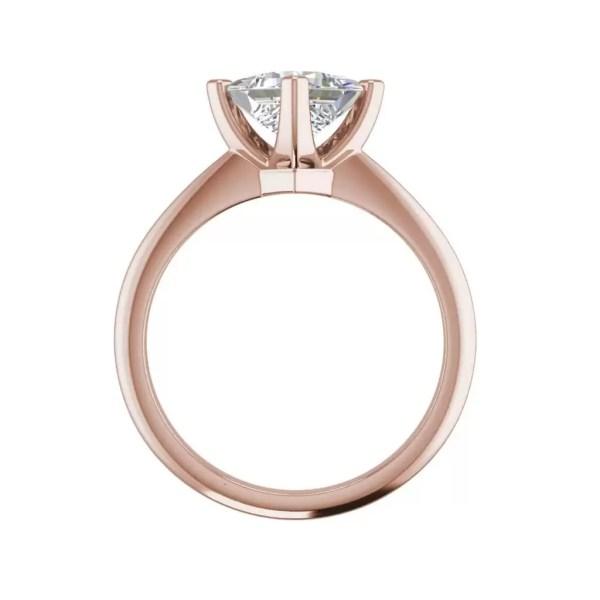 4 Prong 3 Carat SI1 Clarity D Color Princess Cut Diamond Engagement Ring Rose Gold 2