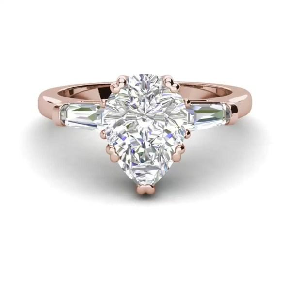 Baguette Accents 1.5 Ct VVS1 Clarity D Color Pear Cut Diamond Engagement Ring Rose Gold 3