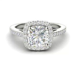 Halo 1.7 Carat VS2 Clarity F Color Cushion Cut Diamond Engagement Ring White Gold 3